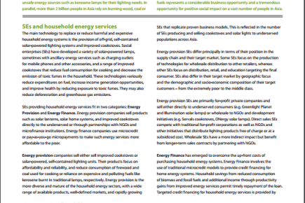 Sector Brief: Household Energy Services, 2013