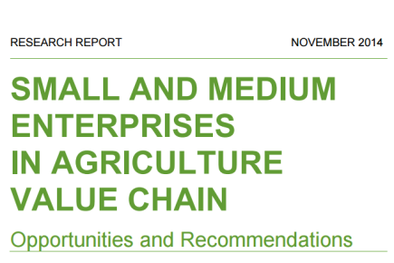 Small and Medium Enterprises in the Agriculture Value Chains, 2014
